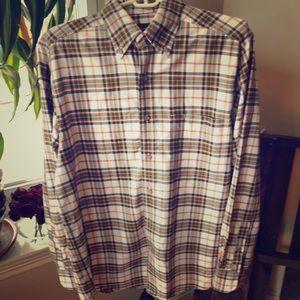 Eddie Bauer 100% cotton plaid button down shirt